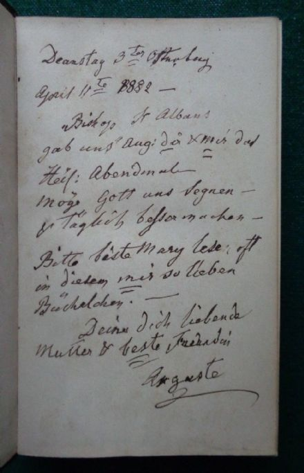 Antique Book Inscribed by Princess Augusta Hesse-Cassel 1882 to Mary Cambridge